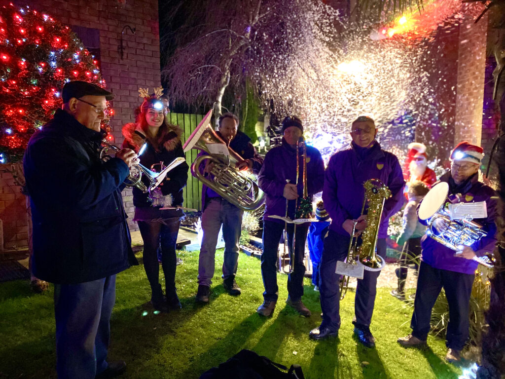 Diggle Community Brass spent several evenings busking round the village prior to Christmas 2020